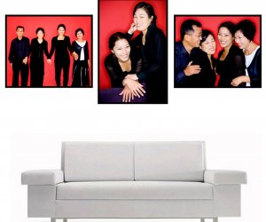 Mock up of a home display of 3 colour portraits in black frame and red background hung above a white couch.